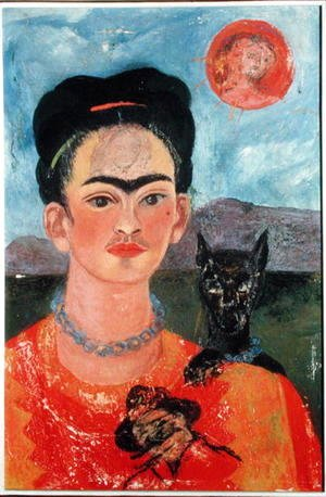Frida Kahlo - Self Portrait with Itxcuintli Dog and Sun